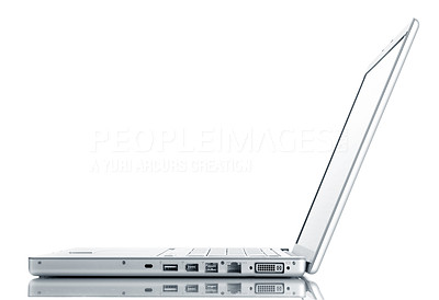 Buy stock photo Modern laptop isolated on white with reflections on glass table.