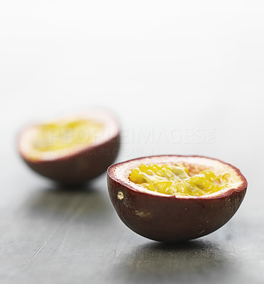 Buy stock photo Passion fruit close-up. This pictures belongs to the healthy living series in my portfolio