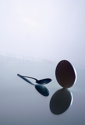 Buy stock photo Egg and spoon. Artistic picture