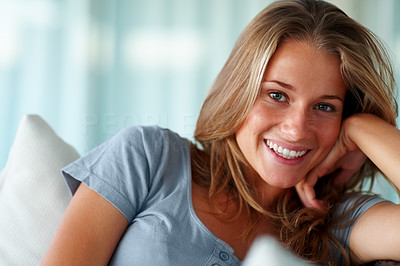 Buy stock photo Closeup portrait of a happy young female smiling
