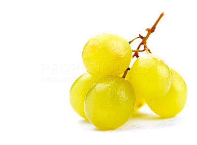 Buy stock photo Shot of a cluster of green grapes.