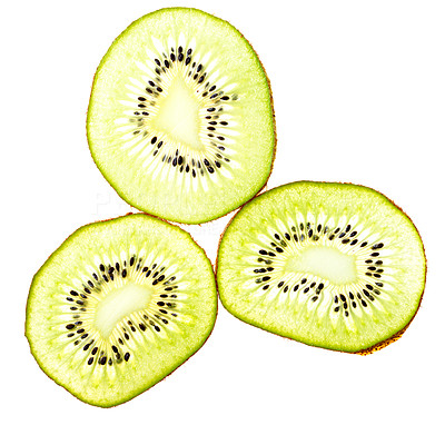 Buy stock photo Macro shot of a kiwi cut into slices