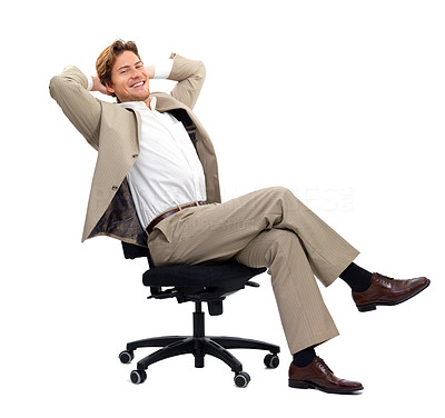 Buy stock photo Young businessman sitting on chair against white background