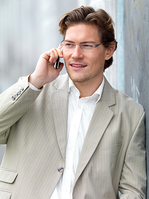 Buy stock photo Businessman talking on cellphone