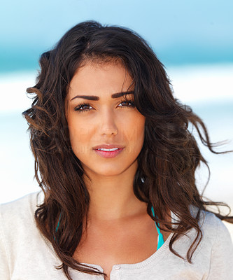 Buy stock photo Close up portrait of a pretty young woman