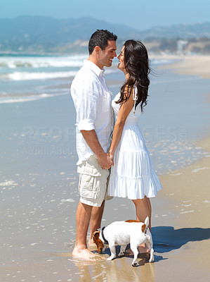 Buy stock photo Full length of a smiling young couple romancing at beach with dog. Jack russell terrier