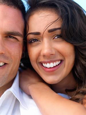 Buy stock photo Close up portrait of a happy young couple in love