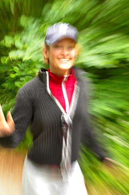 Buy stock photo Woman running with motion blur.