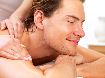 Buy stock photo Close-up of a man receiving back massage from therapist