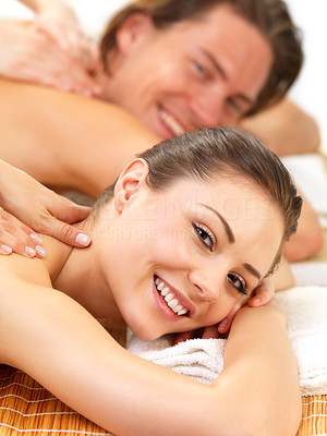 Buy stock photo Young beautiful happy woman getting a massage at the spa with her boyfriend