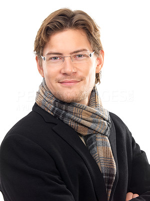 Buy stock photo Portrait of a smiling young businessman