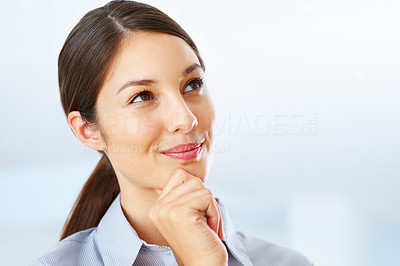 Buy stock photo Closeup of thoughtful young businesswoman looking above and daydreaming
