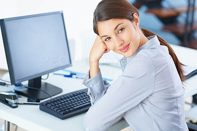 Buy stock photo Portrait of smiling young business woman at work