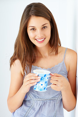 Buy stock photo Portrait of beautiful young woman holding coffee cup