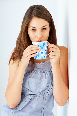 Buy stock photo Portrait of attractive young girl having cup of coffee