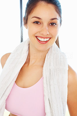 Buy stock photo Closeup of attractive young woman holding towel and smiling