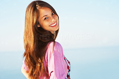 Buy stock photo Portrait of beautiful young woman giving you a warm smile - copyspace