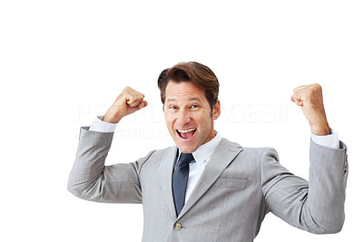 Buy stock photo Portrait of a excited young businessman celebrating success isolated against white background