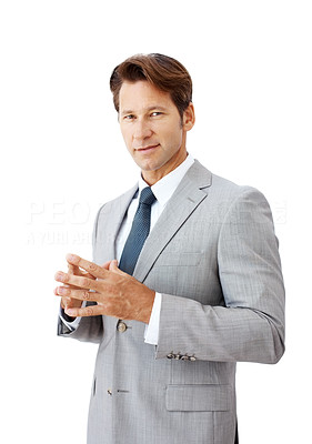 Buy stock photo Portrait of a successful young businessman standing isolated against white background