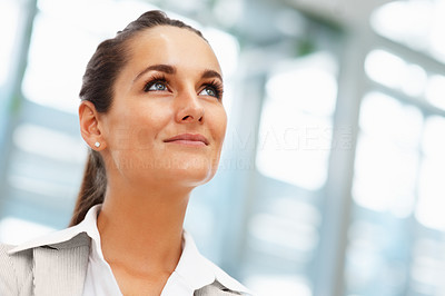 Buy stock photo Closeup of pretty businesswoman looking  into distance