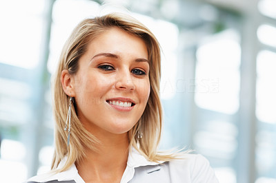 Buy stock photo Closeup of female executive looking directly at you