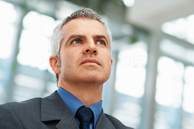Buy stock photo View of senior executive looking into distance