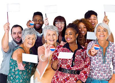 Buy stock photo Studio shot of diverse group of voters holding up politcal party flags against a white background
