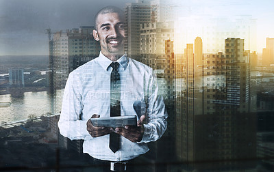 Buy stock photo Shot of a happy businessman using a tablet superimposed over a cityscape