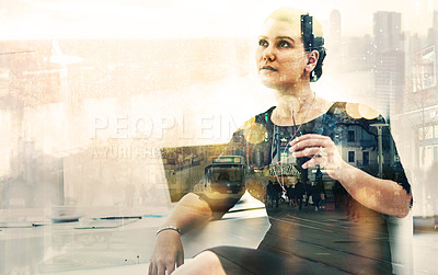 Buy stock photo Shot of a businesswoman sitting at her desk superimposed over a cityscape