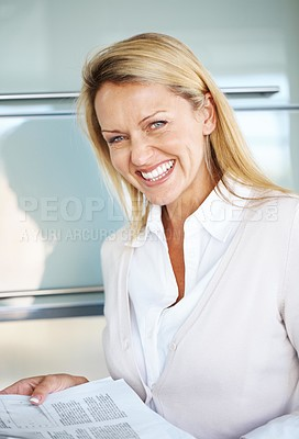 Buy stock photo Portrait of a beautiful young businesswoman smiling with some document in hand
