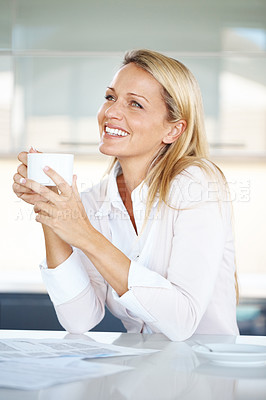 Buy stock photo Portrait of a relaxed businesswoman holding a cup of coffee on her break