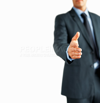 Buy stock photo Cropped view of business man extending hand to shake