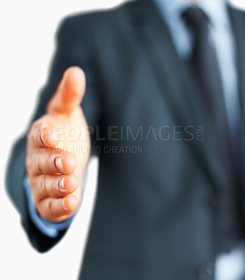 Buy stock photo View of businessman extending hand to shake