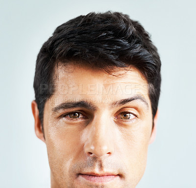 Buy stock photo Closeup of handsome man looking at you with serious look