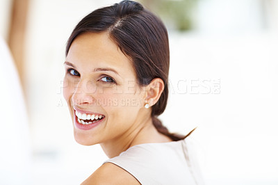 Buy stock photo Closeup portrait of beautiful young lady looking at you against white background