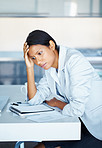 Female executive under stress
