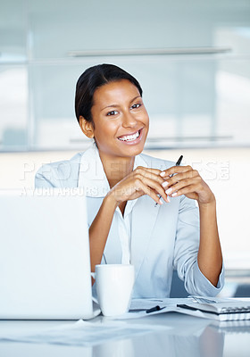 Buy stock photo View of professional woman sitting at desk near laptop