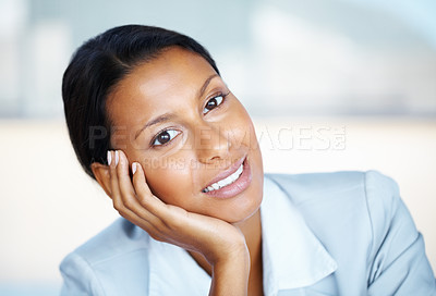 Buy stock photo Business woman resting face on hand
