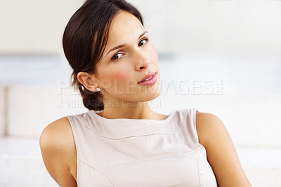 Buy stock photo Portrait of beautiful young lady in pensive mood - Copyspace