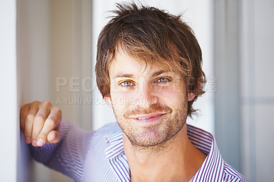 Buy stock photo Closeup of confident young man smiling at you