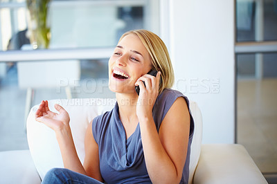 Buy stock photo Pretty young business woman enjoying conversation on cell phone