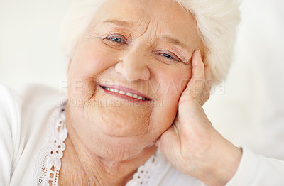 Buy stock photo Portrait of a happy senior woman giving you a smile