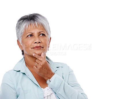 Buy stock photo Studio shot of a pensive-looking mature woman isolated on white