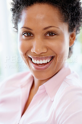 Buy stock photo Closeup of woman laughing indoors