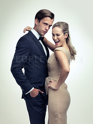 Buy stock photo A studio portrait of a couple in stylish vintage evening wear
