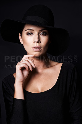 Buy stock photo Portrait of an attractive woman wearing a black hat