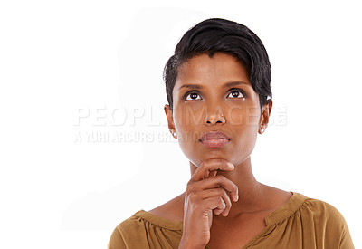 Buy stock photo A young woman looking up thoughtfully