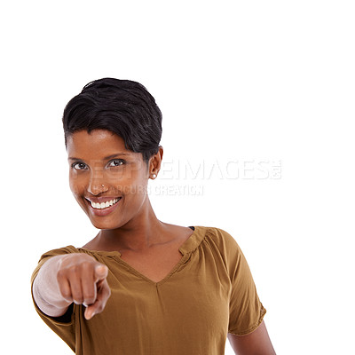 Buy stock photo Shot of a young indian woman in a studio