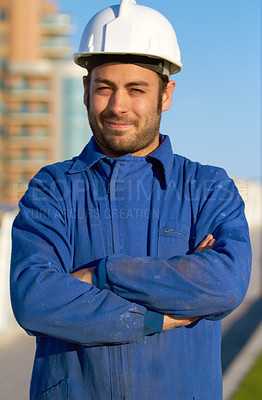 Buy stock photo Portrait of a construction worker standing outside