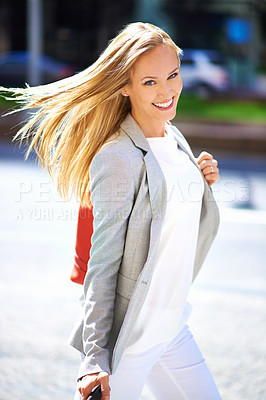 Buy stock photo A gorgeous young woman walking in the streets of New York